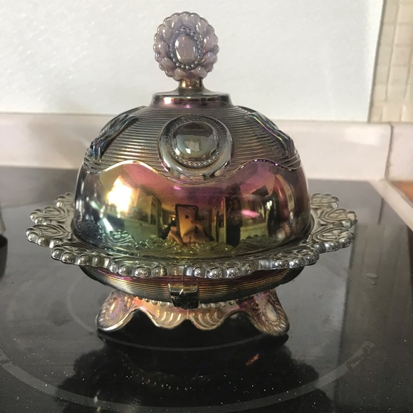 Vintage Imperial Carnival Glass Butter Dish